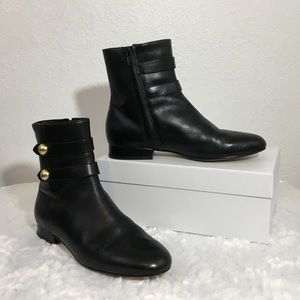 MICHAEL Michael Kors Gold-Button Black Ankle Boots